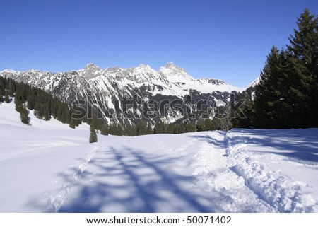 peaks in the French Swiss border near Geneva and Mont Blanc - stock photo