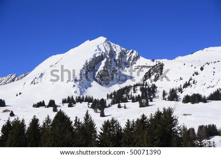 peaks in the French, Swiss border near Mont Blanc - stock photo