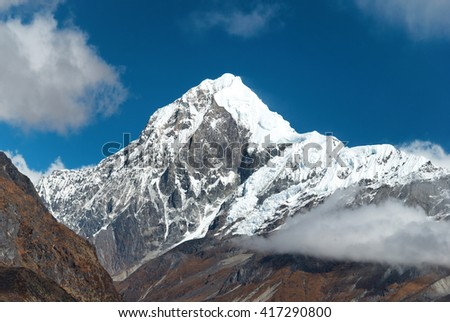 Peaks of high mountains, covered by snow. Kangchenjunga, India.