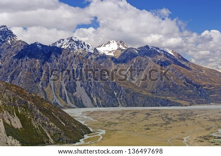 Peaks of Mt Cook National Park above the Hooker Valley - stock photo