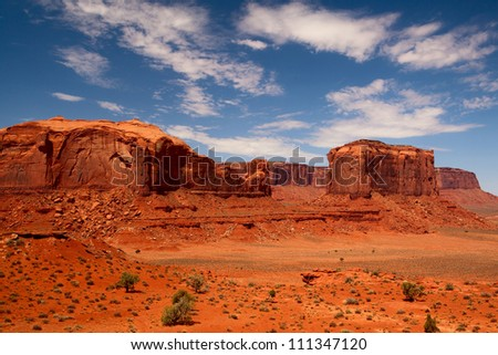 Peaks of rock formations in the Navajo Park of Monument Valley Utah - stock photo