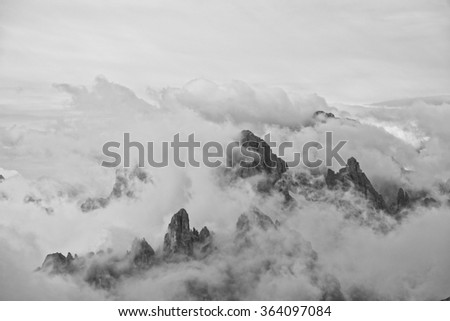 Peaks of the Dolomites with clouds, Italy, european alps