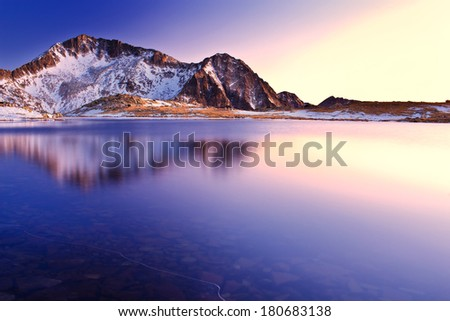 peaks reflections - stock photo
