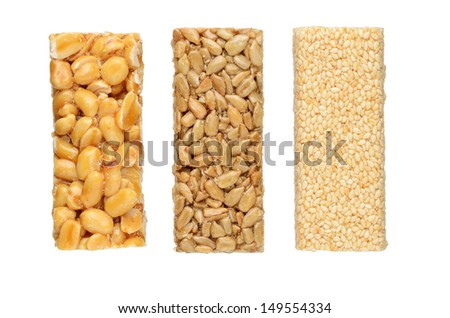 Peanut brittles isolated on white background - stock photo