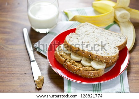 Peanut butter and banana sandwich with glass of milk - stock photo
