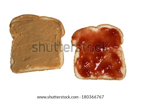 Peanut butter and jelly sandwich halves
