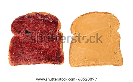 Peanut butter and jelly sandwich on bread slices isolated on white background - stock photo