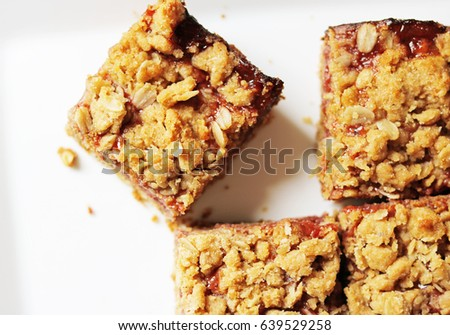 Peanut Butter and Strawberry Jelly Oat Bar Squares