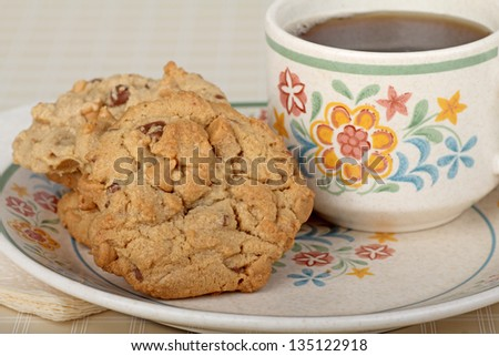 Peanut butter cookies and cup of coffee