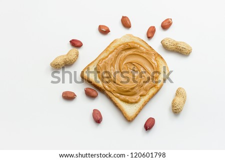 Peanut butter on toast - stock photo