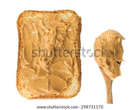 Peanut butter on toast isolated on white background