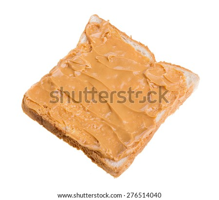 peanut butter sandwich and bread on white background