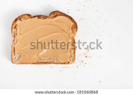 Peanut butter toats on a white background - stock photo