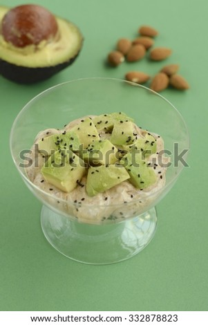 Peanut Butter Yogurt with Avocado, Almond Nuts and Sweet Basil Seeds