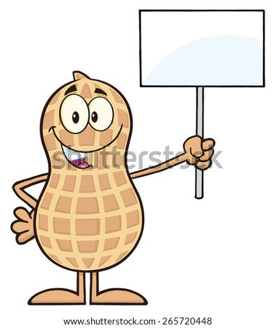 Peanut Cartoon Character Holding Up A Blank Sign. Raster Illustration Isolated On White - stock photo