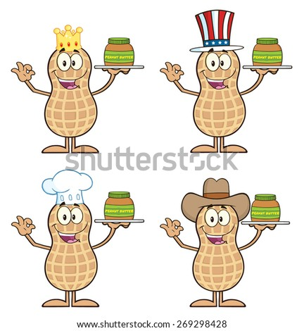 Peanut Cartoon Character 2. Raster Collection Set Isolated On White - stock photo