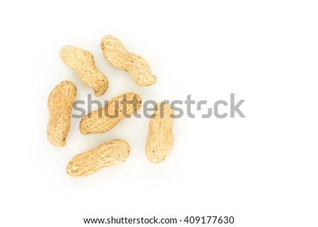 peanut in shell on white background - stock photo