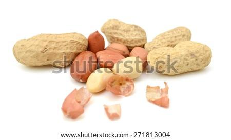 Peanut isolated on white background. - stock photo