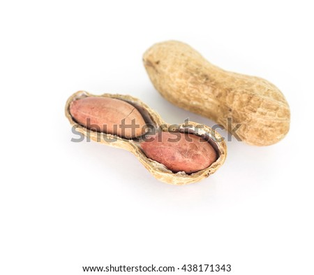 peanut seed shell food on white background
