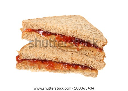 Peanutbutter and jelly sandwich, cutout on white background - stock photo