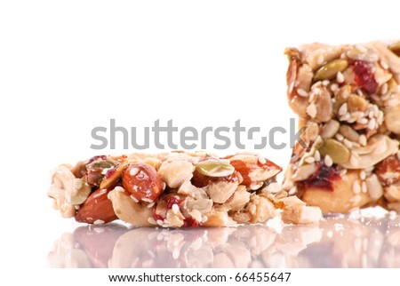 Peanuts and Almond Cluster Agave Snack Bar - stock photo
