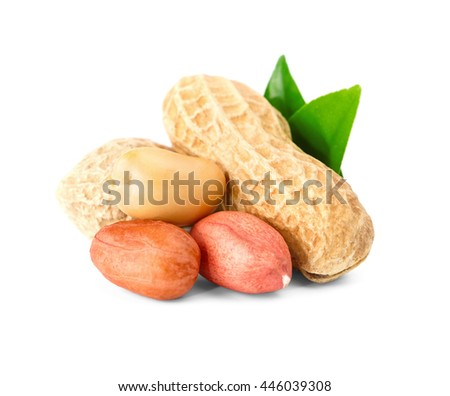 Peanuts and shell with green leaf. Isolated on a white background. - stock photo