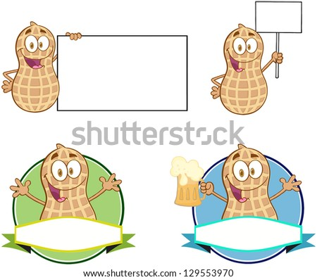 Peanuts Cartoon Mascot Characters-Vector Collection 3. Raster Illustration.Vector Version Also Available In Portfolio. - stock photo