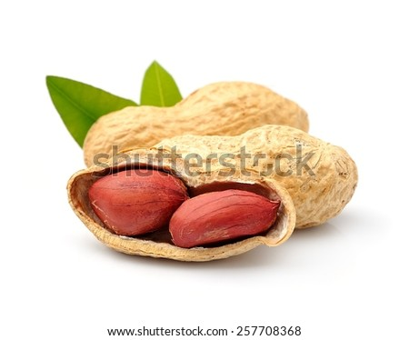 Peanuts close up on white background . - stock photo