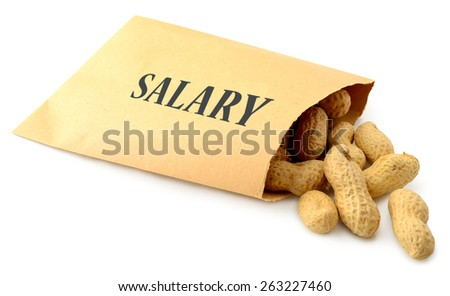 Peanuts falling out of an envelope marked salary isolated on a white background - stock photo