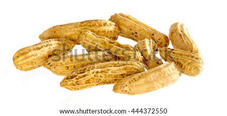 Peanuts in close up on a white background
