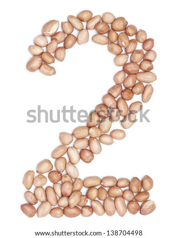 Peanuts in shape of letter 2 - stock photo