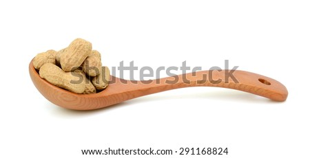 Peanuts isolated on white - stock photo