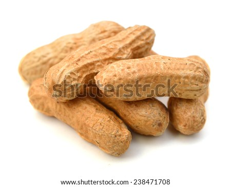 Peanuts isolated on white background close up  - stock photo