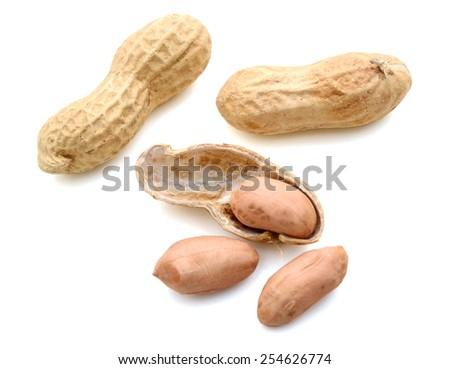 peanuts on white background - stock photo