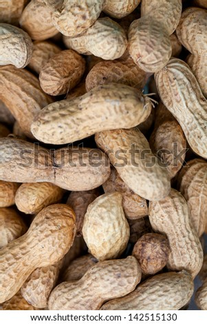 peanuts on wooden table