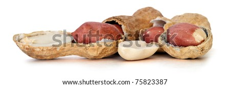 peanuts over white background, picture saved with clipping path
