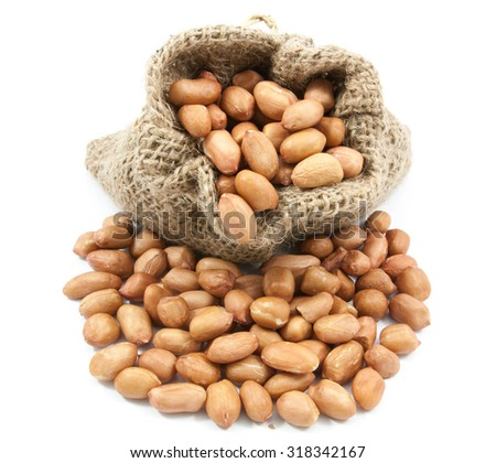 Peanuts soybean in canvas sack on white background