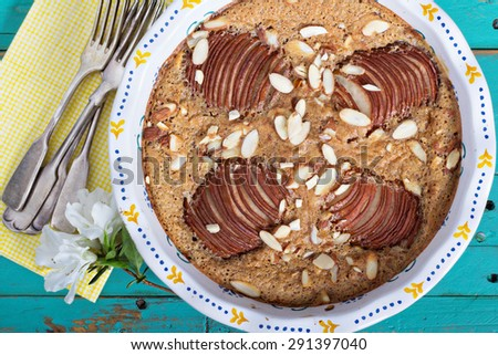 Pear and almond pie gluten free top view - stock photo
