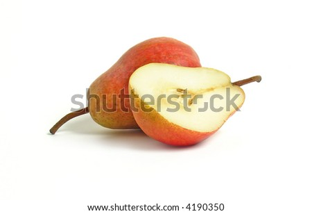 Pear and half of pear on white background