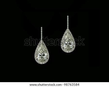Pear Diamonds Earrings - stock photo