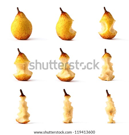 Pear from whole to eaten frame set isolated on white - stock photo