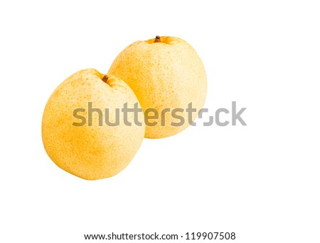 Pear fruits isolated on white background with clipping path