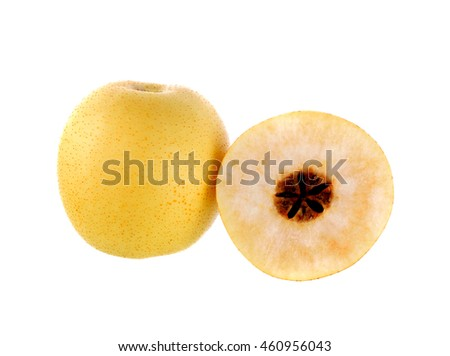 Pear fruits on white background