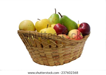 Pear green, yellow and red apples in a basket - stock photo