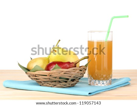 Pear juice with pears on wooden table on white background