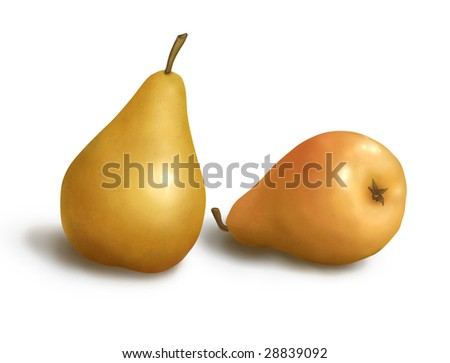 Pear pictured, isolated