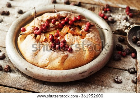 Pear pie sprinkled with powdered sugar on a black background. Beautiful chocolate pear tart in section. Delicious dessert for breakfast. Rustic dark food style. - stock photo