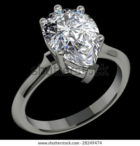 pear shape diamond platinum solitaire engagement ring on black