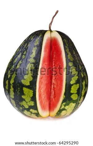 Pear-shaped watermelon sliced open, isolated on white