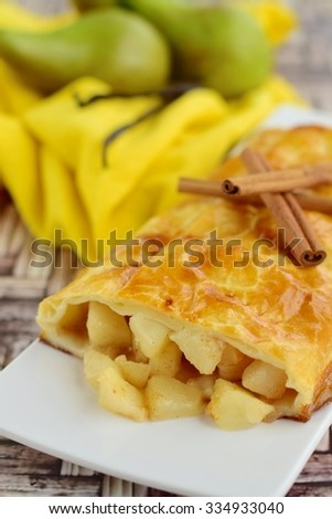 Pear strudel puff pastry - stock photo